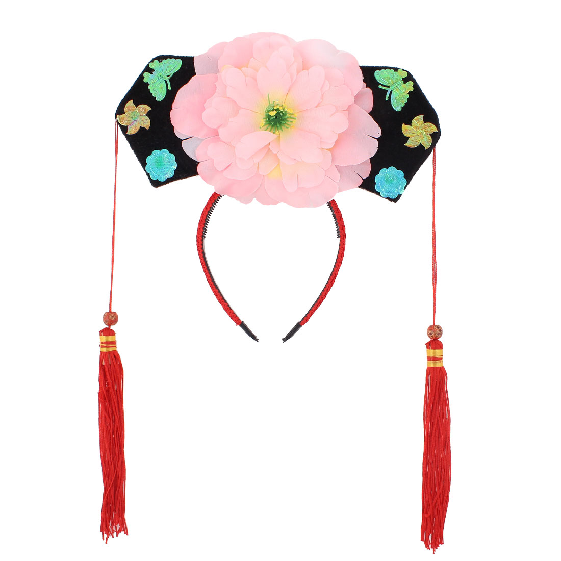 Girls Pink Red Floral Decor Oriental Chinese Princess Hairband Hat Headdress Headband