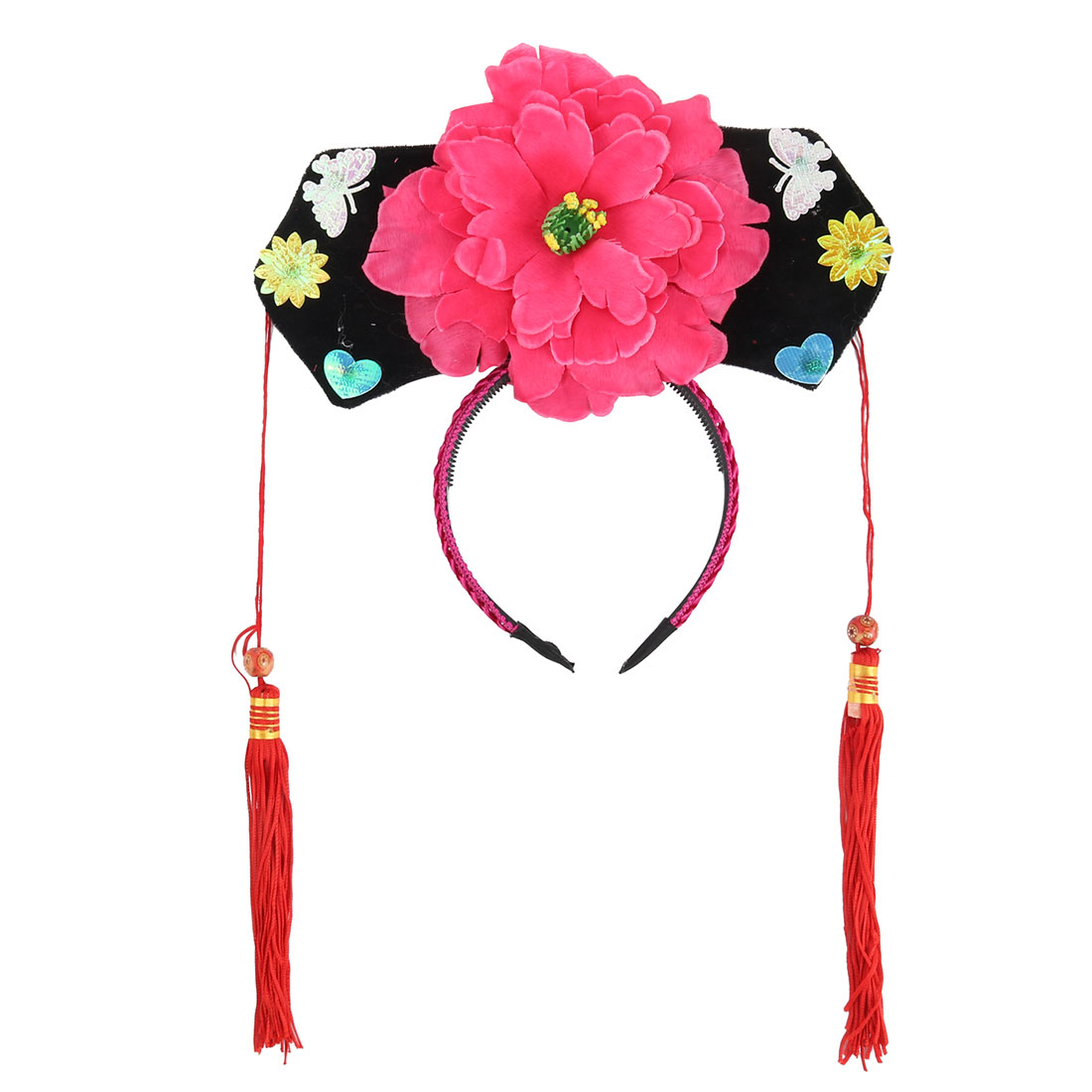 Girls Plastic Floral Shape Decor Oriental Chinese Princess Hairband Hat Headband