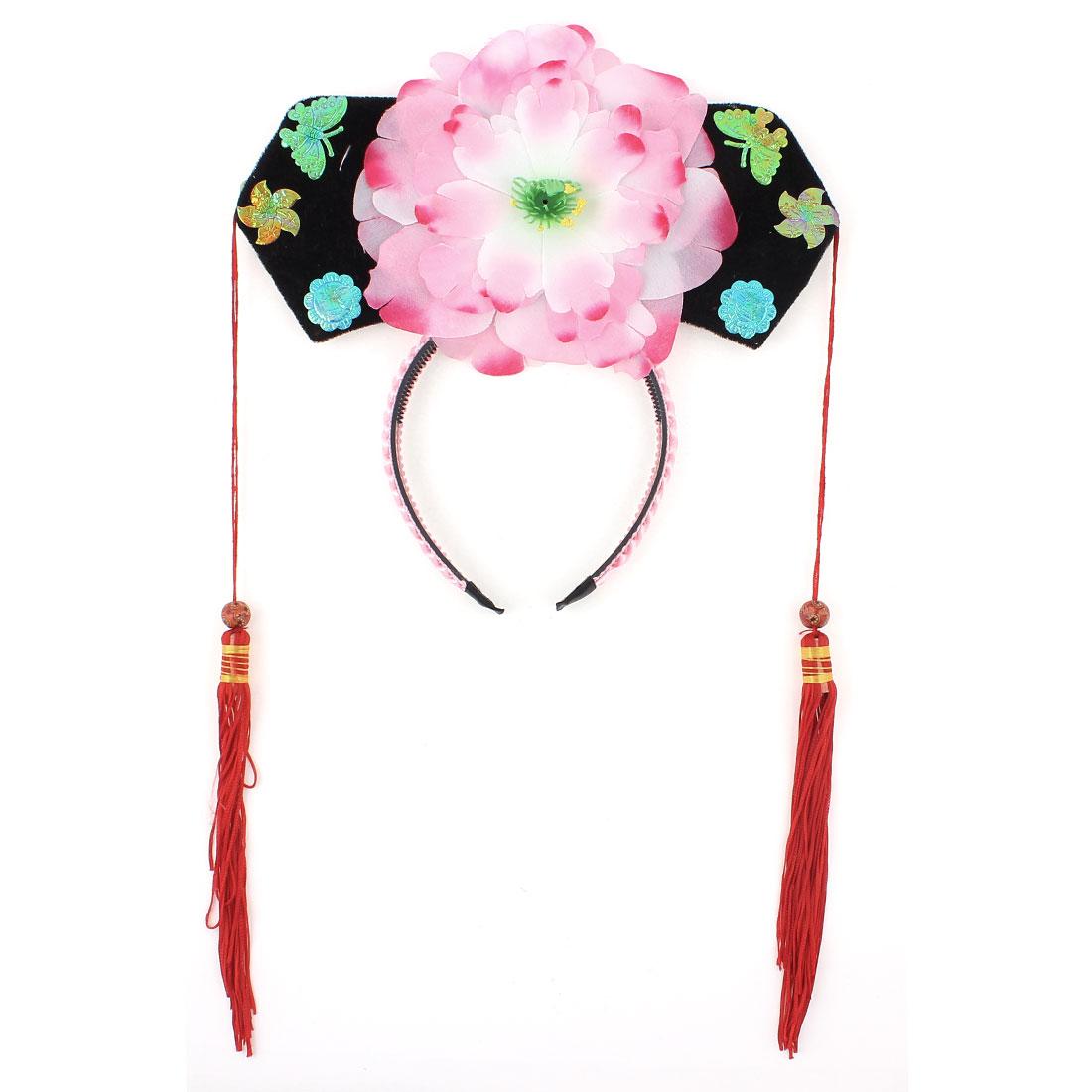 Girls Pink Floral Decor Oriental Chinese Princess Hairband Hat Headdress Headband