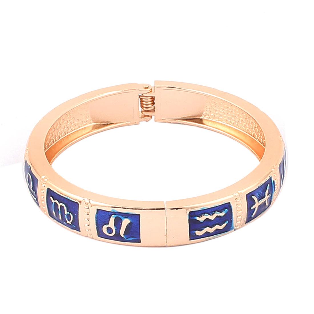 "Round Wrist Gold Tone Metal 12 Constellations Pattern Bracelet Blue Enamel 0.4"" Width"
