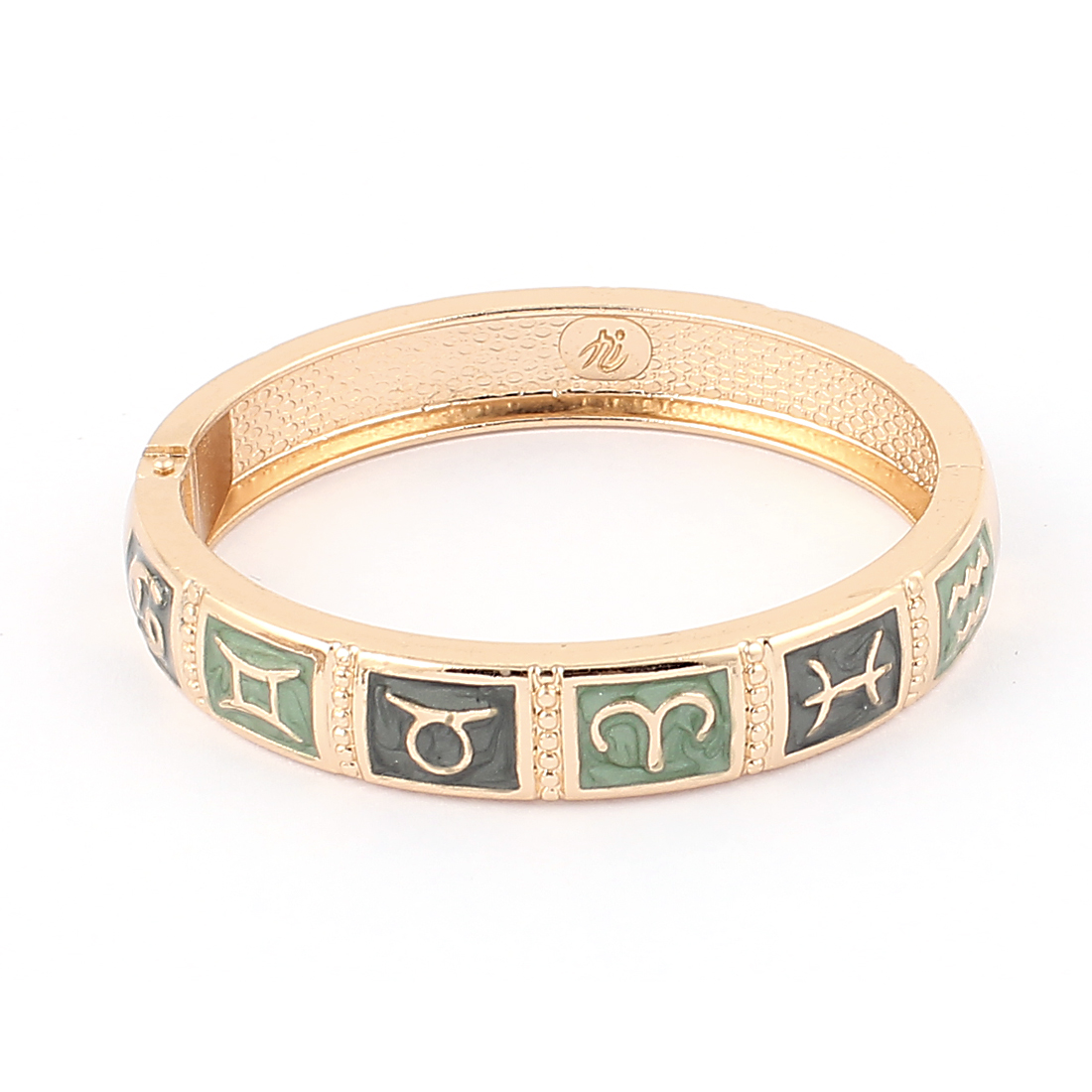 "Round Wrist Gold Tone Metal Hinged Wide 12 Constellations Pattern Bracelet Green Bangle 0.4"" Width"