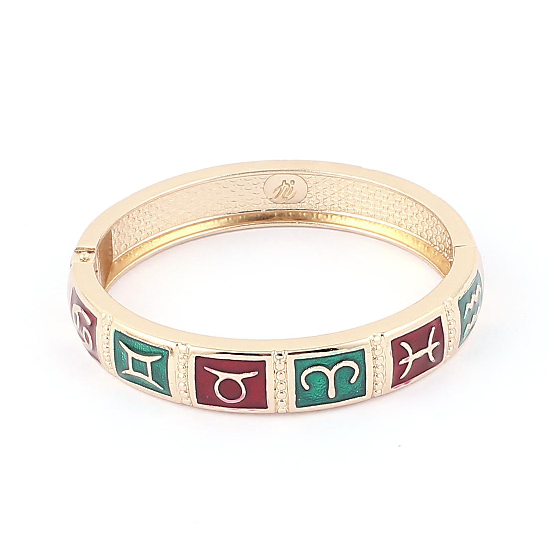 "Round Wrist Gold Tone Metal 12 Constellations Pattern Bracelet Enamel 0.4"" Width"