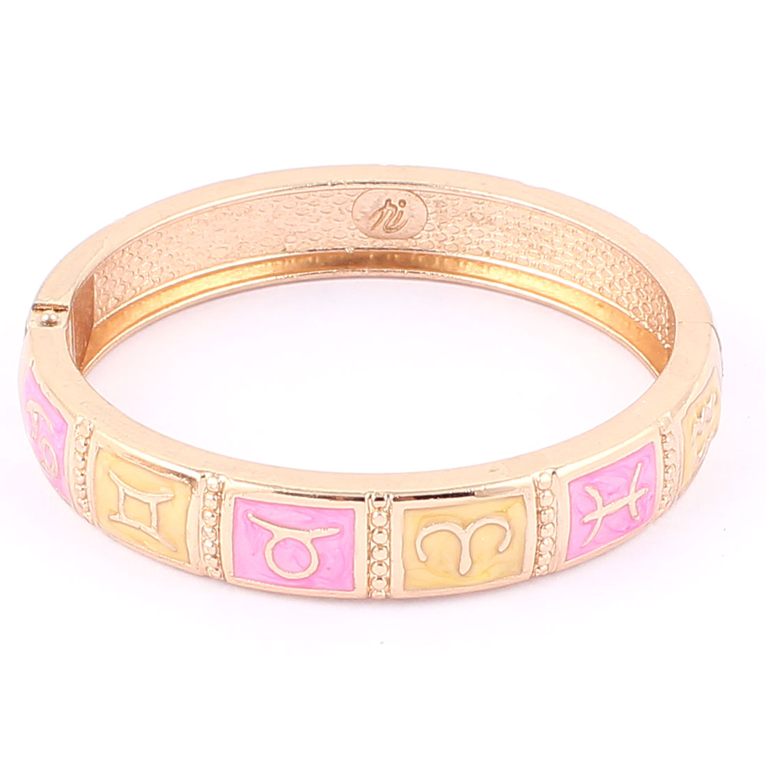 "Round Wrist Gold Tone Metal Hinged Wide 12 Constellations Pattern Bracelet Enamel Bangle 0.4"" Width"
