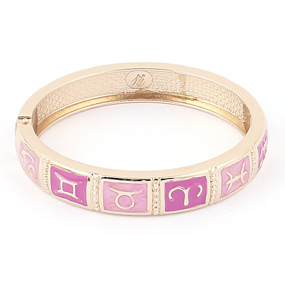 Round Wrist Gold Tone Metal Pink 12 Constellations Pattern Bracelet