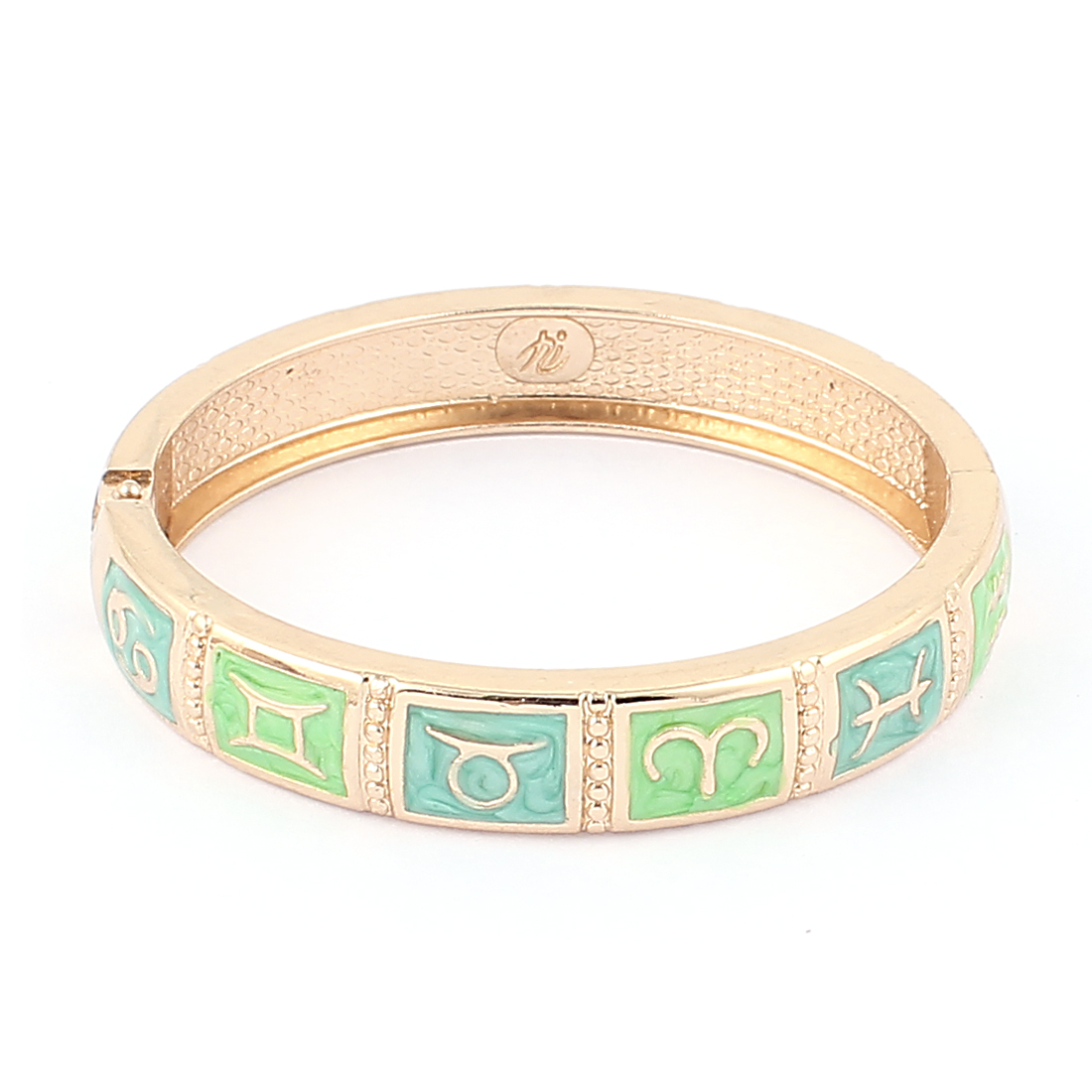 Round Wrist Gold Tone Metal Green 12 Constellations Pattern Bracelet