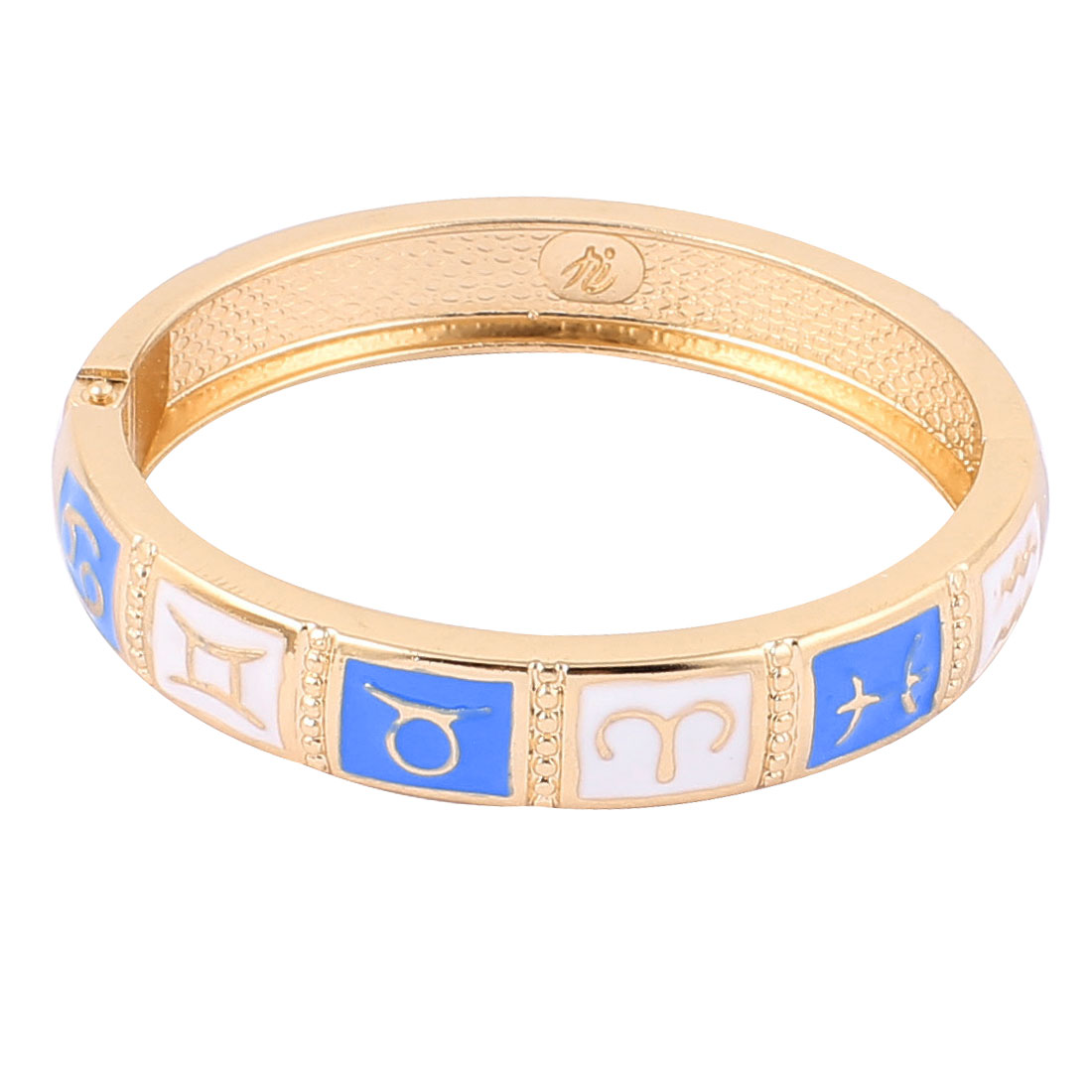 "Wrist Gold Tone Metal 12 Constellations Pattern Bracelet White Enamel 0.4"" Width"