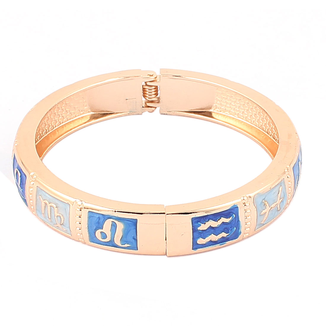 "Round Wrist Gold Tone Metal Blue 12 Constellations Pattern Bracelet Enamel Bangle 0.4"" Width"