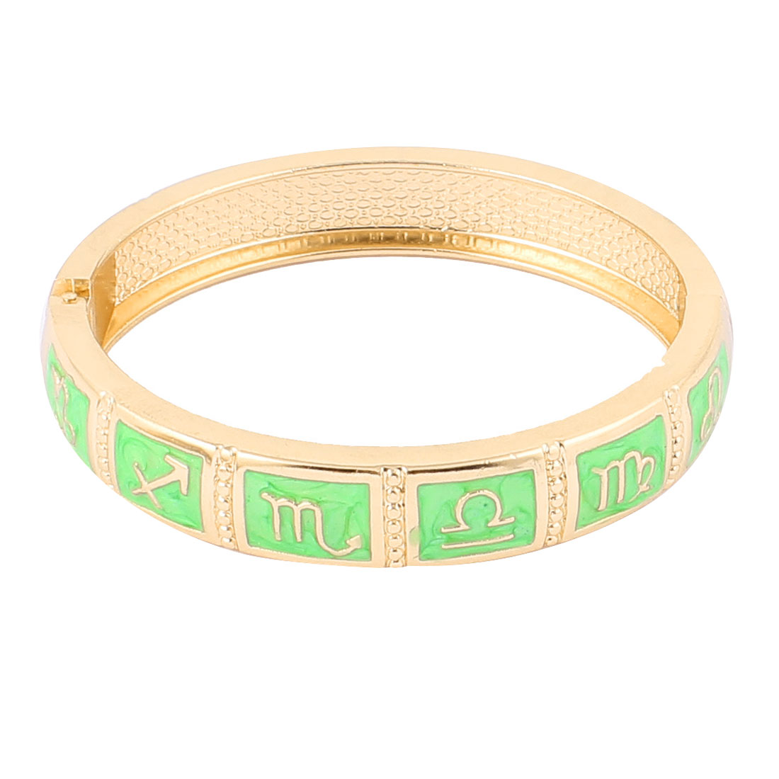 "Round Wrist Gold Tone Metal Green 12 Constellations Pattern Bracelet Enamel Bangle 0.4"" Width"