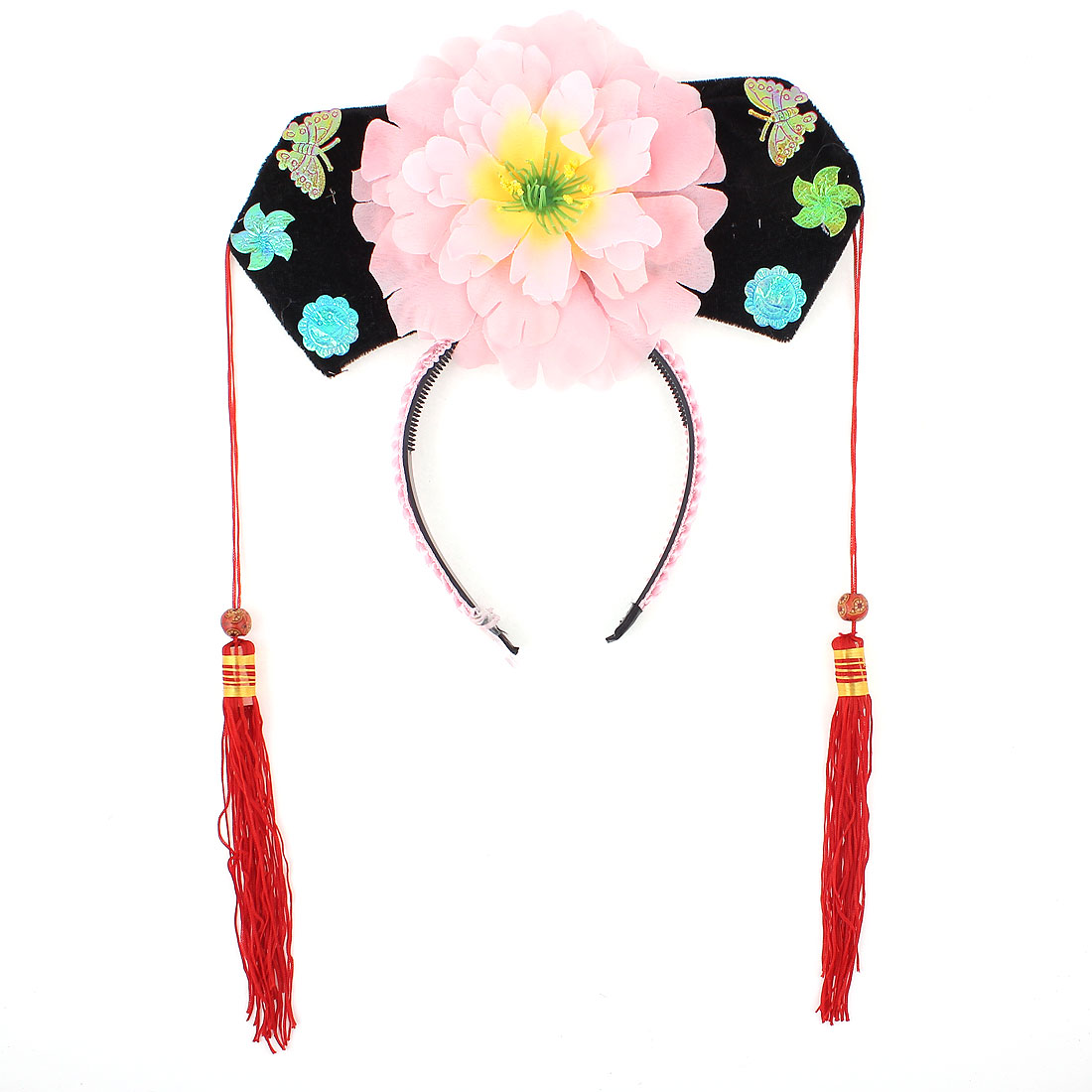 Pink Red Floral Decor Oriental Chinese Princess Hairband Hat Headdress Headband