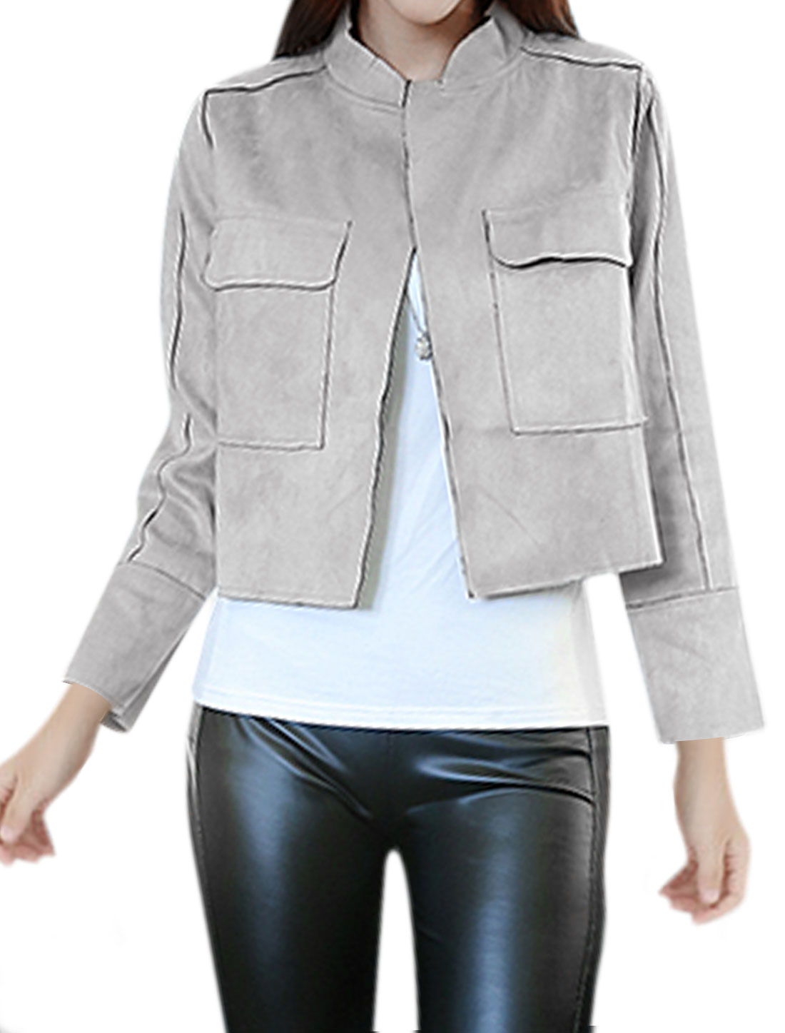 Ladies Stand Collar Long Sleeve Casual Jacket Light Gray M
