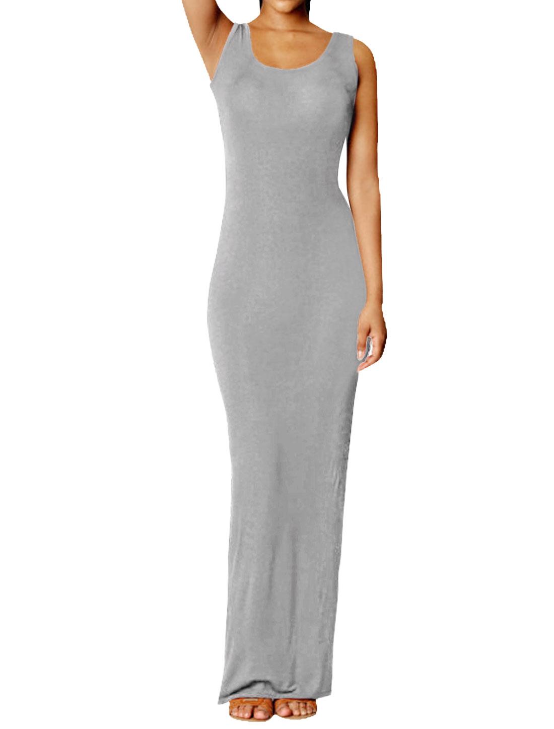 Ladies Slim Fit Scoop Neckline Casual Dress Light Gray S
