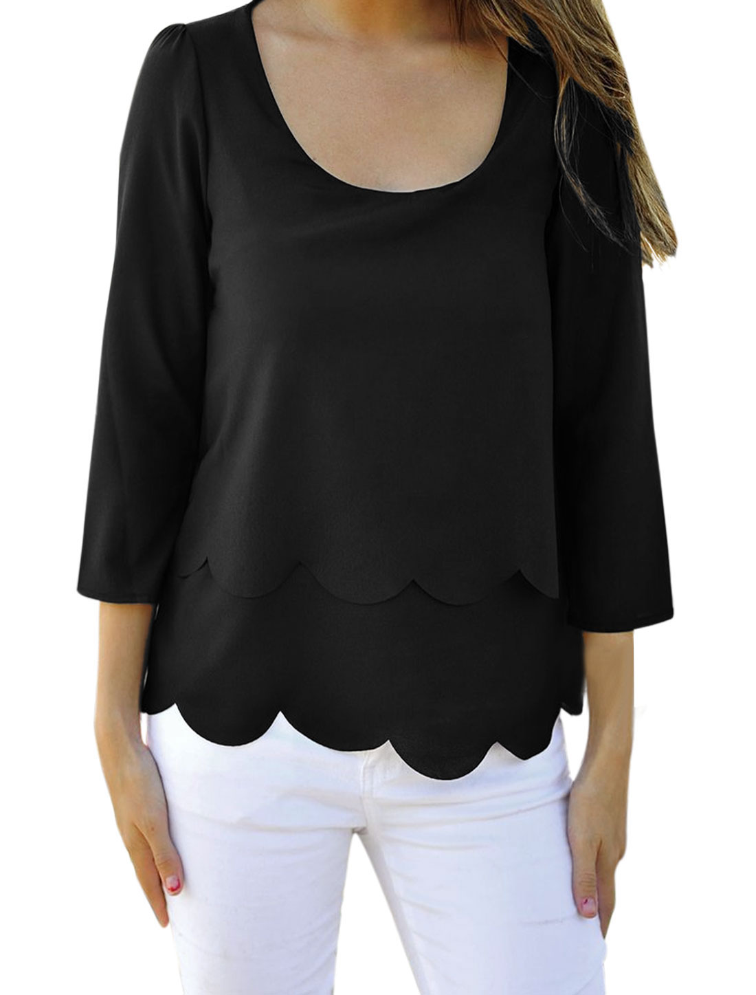 Woman Scoop Neck 3/4 Sleeve Open Back Casual Top Black M