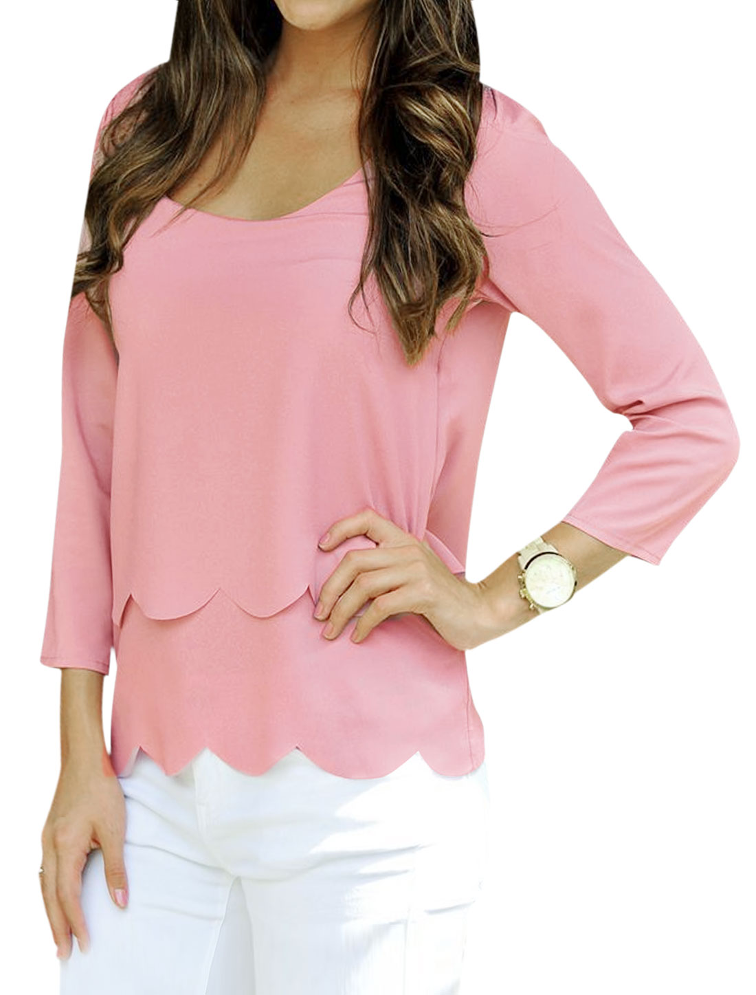 Woman Pollover Scalloped Trim Layered Casual Top Pink M