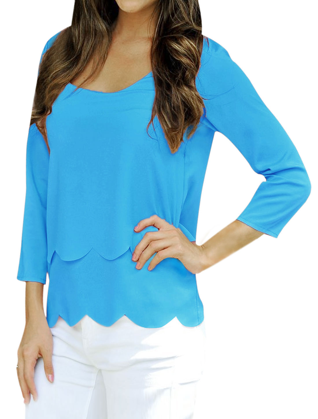 Woman Layered Open Back Slipover Casual Top Blue M