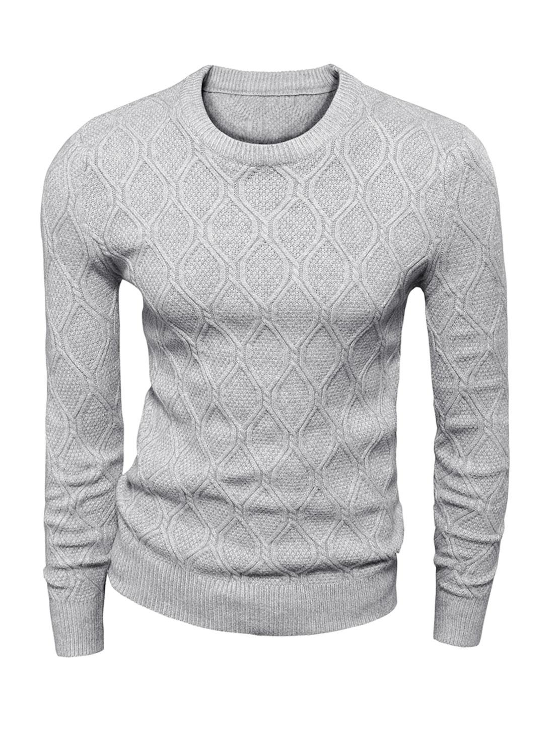 Men Crew Neck Long Sleeves Textured Sweater Light Gray S