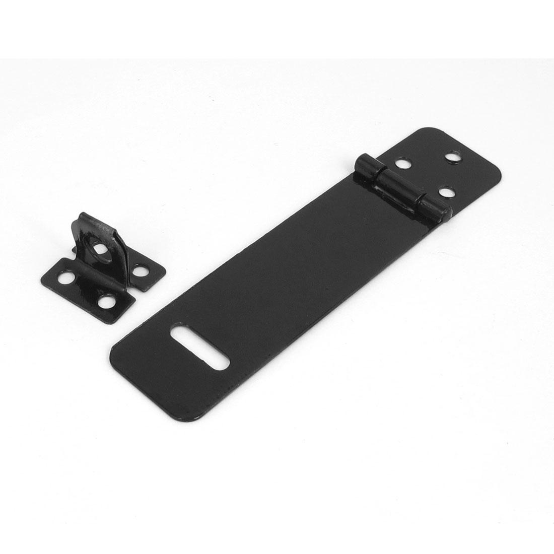 Rectangle Black Metal Security Safety Door Clasp Gate Lock Padlock Hasp Staple
