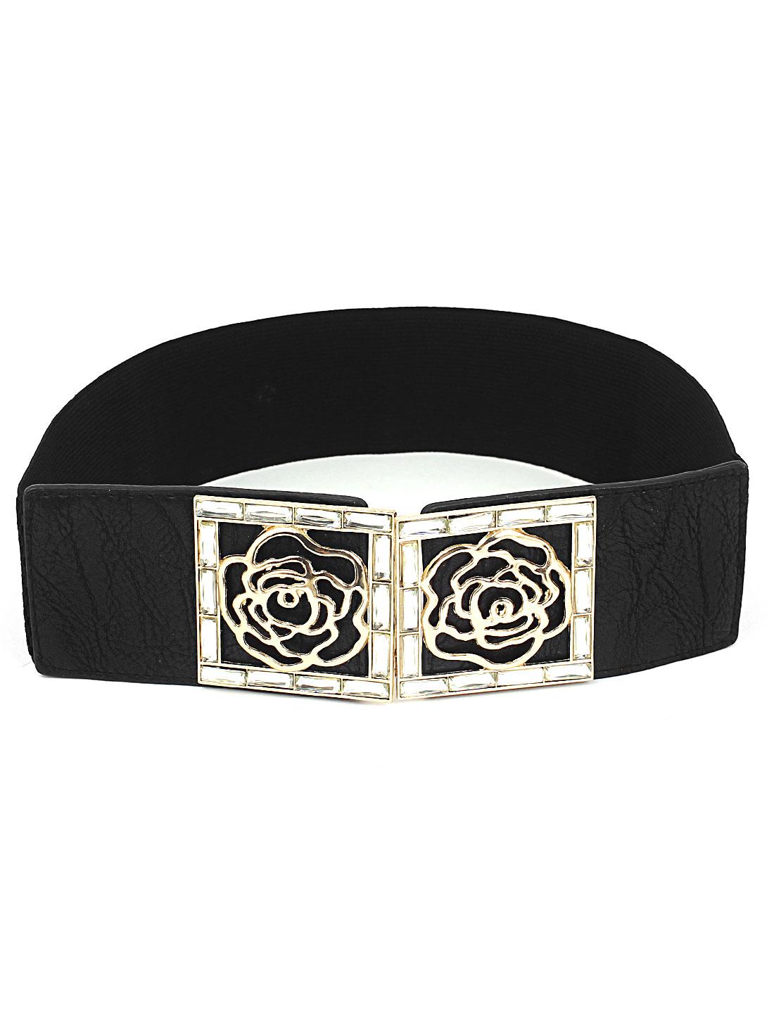 Women Rose Shaped Metal Interlock Buckle Elastic Cinch Waist Belt Band Waistband Black