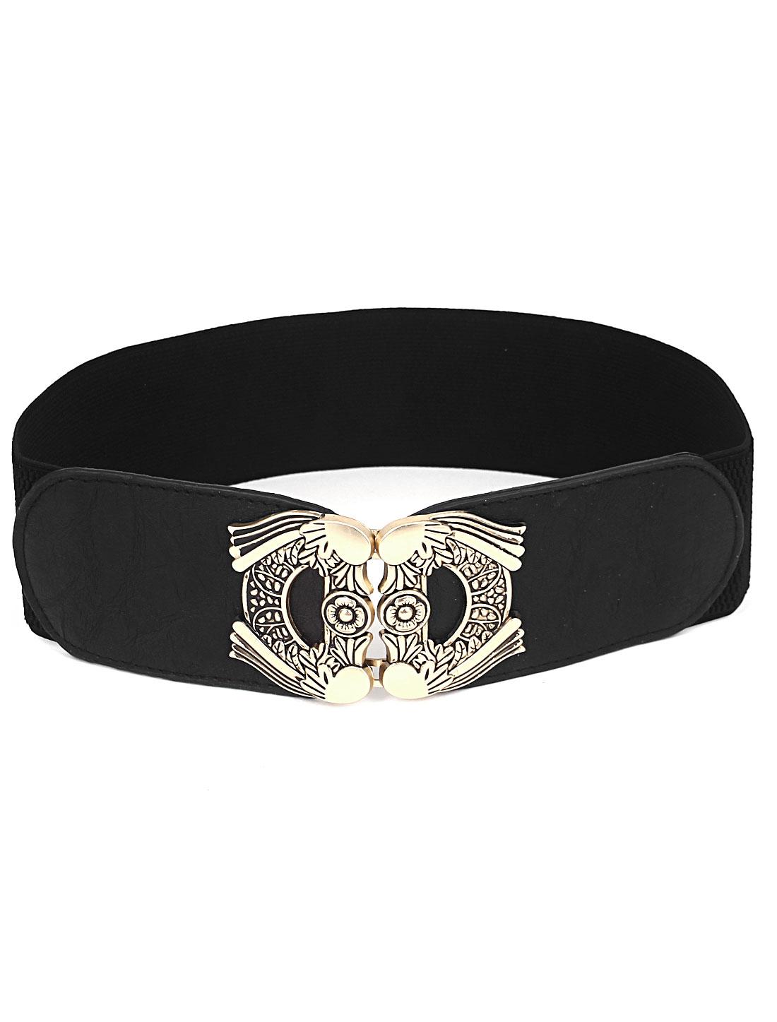 Lady Metal Interlocked Buckle Faux Leather Elastic Waist Cinch Belt Band Waistbelt Black