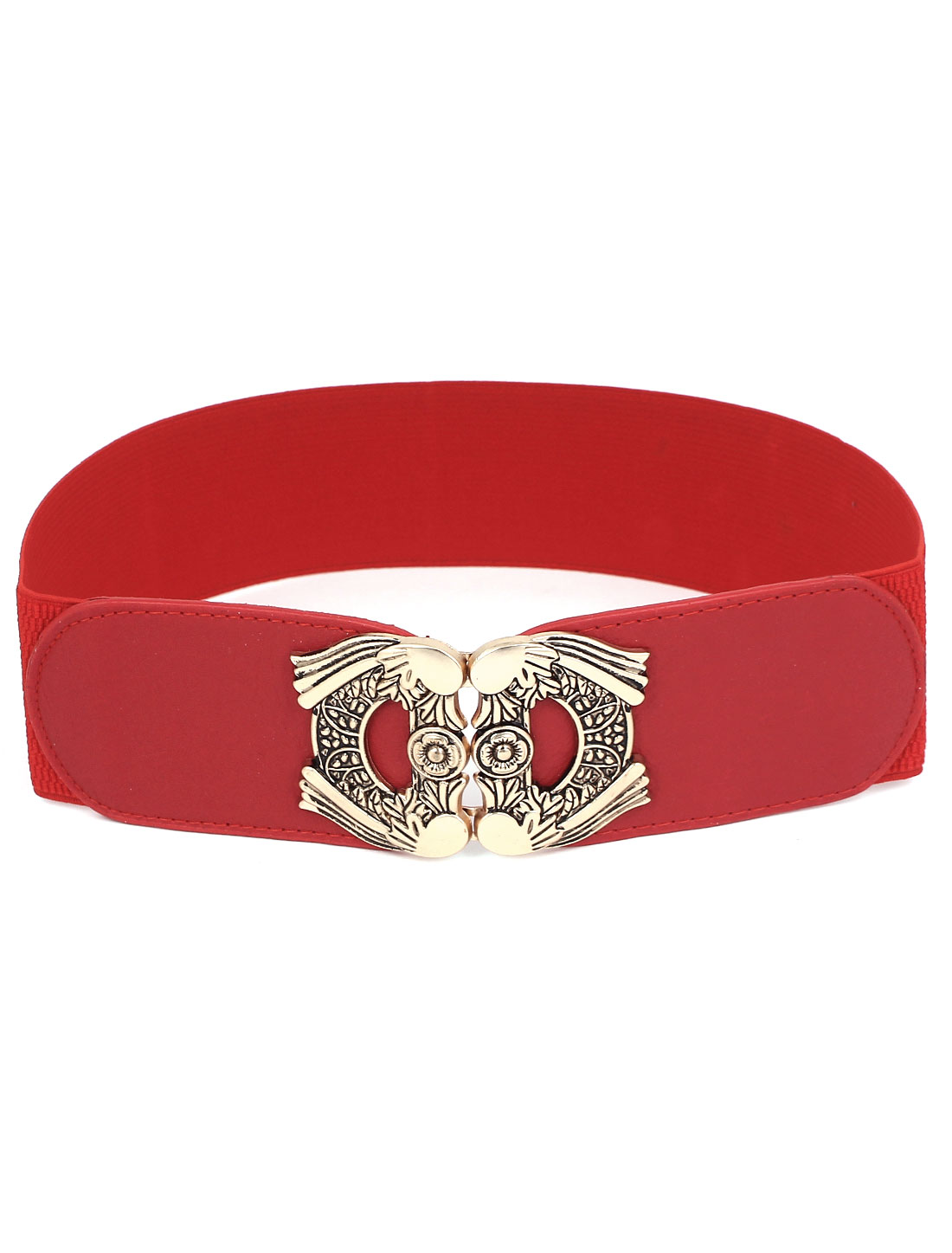 Women Metal Interlocked Buckle Faux Leather Elastic Waist Cinch Belt Band Waistbelt Red