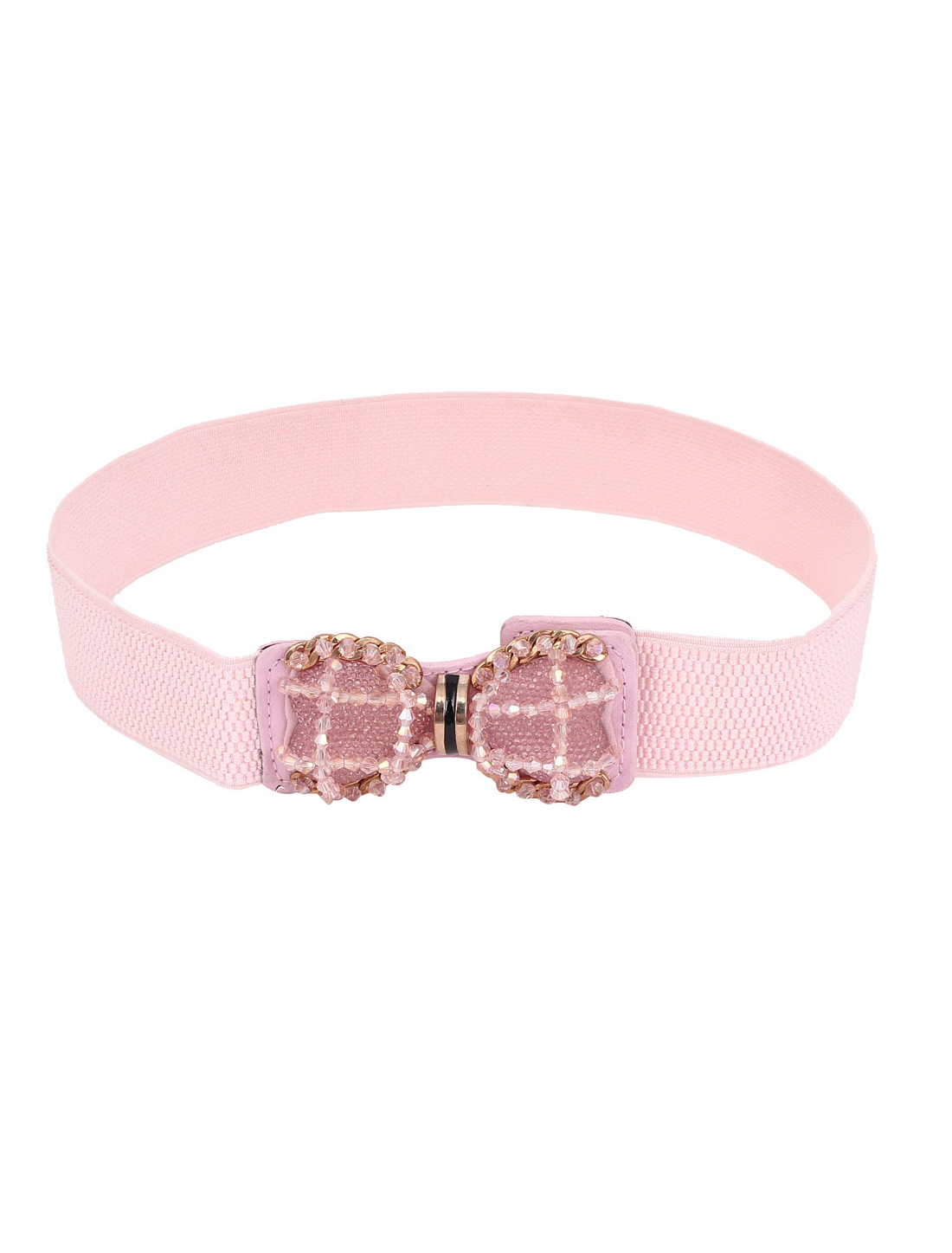 Women Plastic Imitation Pearl Decor Bowknot Design Press Botton Buckle Faux Leather Stretchy Cinch Waist Belt Pink