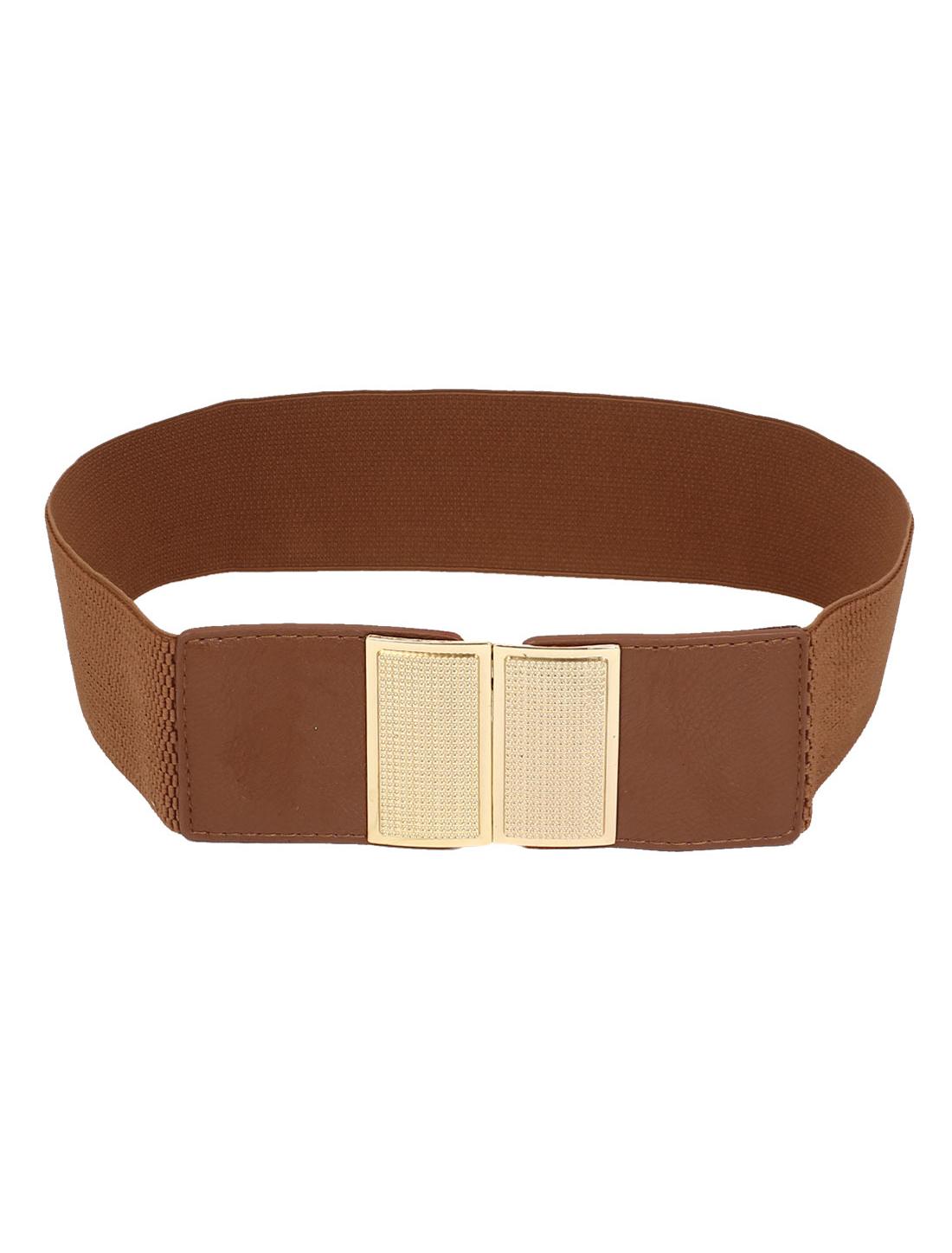 Lady Metal Rectangle Shape Interlock Buckle Faux Leather Stretch Cinch Waist Belt Band Brown