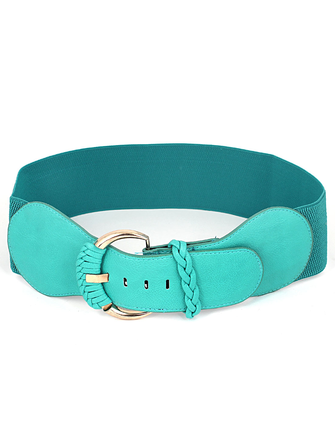 Women Metal Single Pin Buckle 7.5cm Wide Faux Leather Elastic Adjustable 5 Holes Waist Belt Cyan