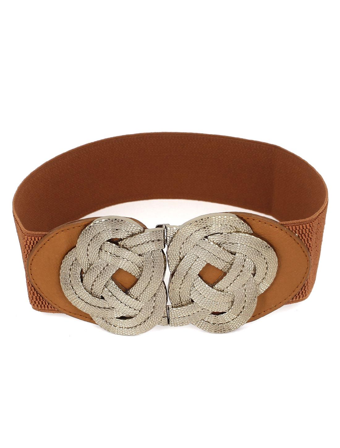 Women Flower Design Metal Interlock Buckle Faux Leather Stretchy Cinch Waist Belt Band Waistband Brown