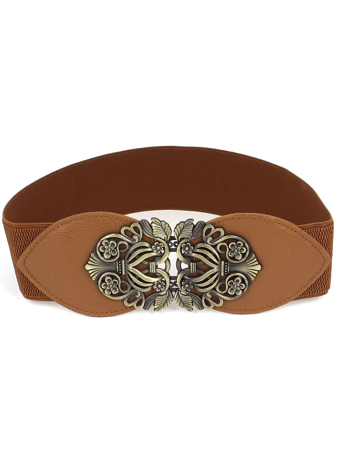 Women Flower Shape Metal Interlocking Buckle Faux Leather Stretchy Cinch Waist Belt Band Brown