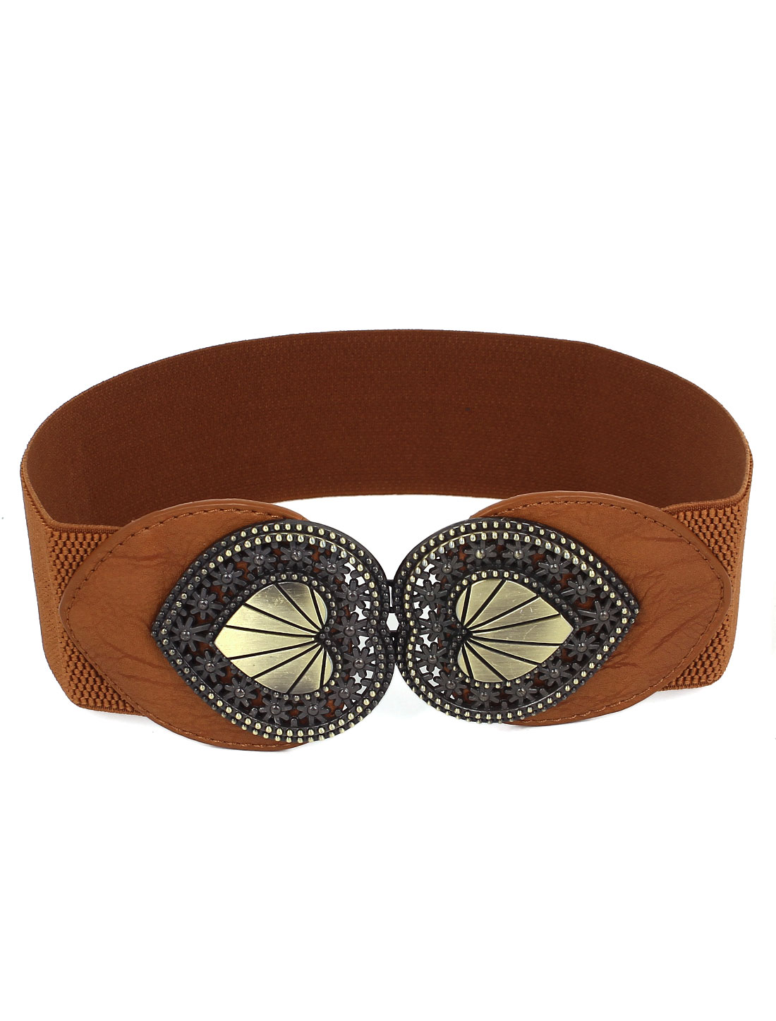 Women Double Heart Design Metal Interlock Buckle Faux Leather Stretch Waist Belt Band Waistband Brown