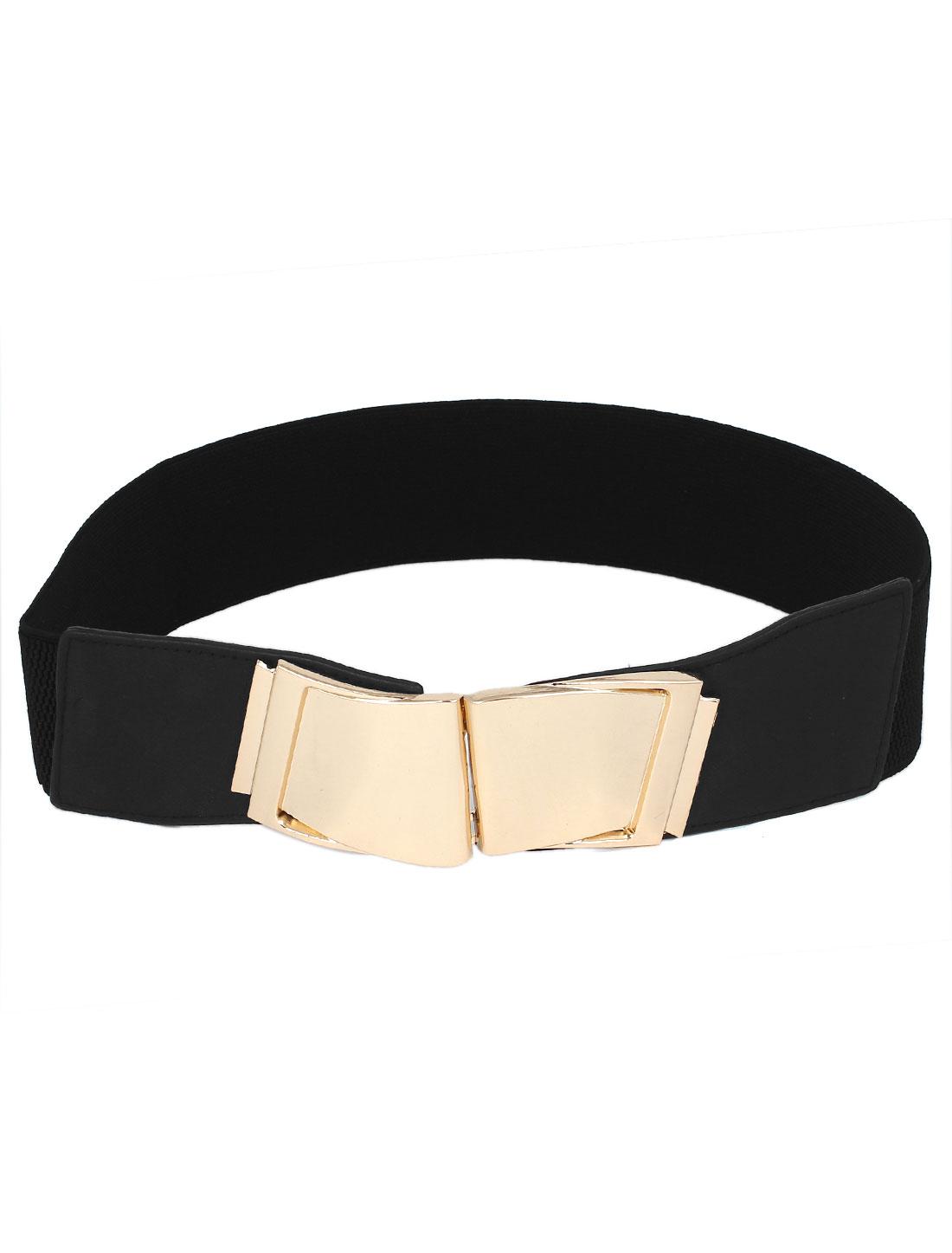Women Metal Interlock Buckle Faux Leather Stretchy Cinch Waist Belt Waistband Black