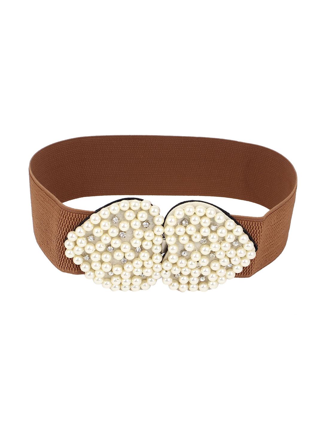 Women Faux Pearl Decor Dual Heart Design Interlocking Buckle Elastic Cinch Waist Belt Brown