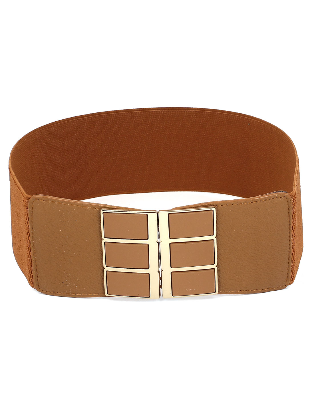 Lady Metal Rectangle Style Interlock Buckle 7cm Width Stretch Cinch Waist Belt Band Brown