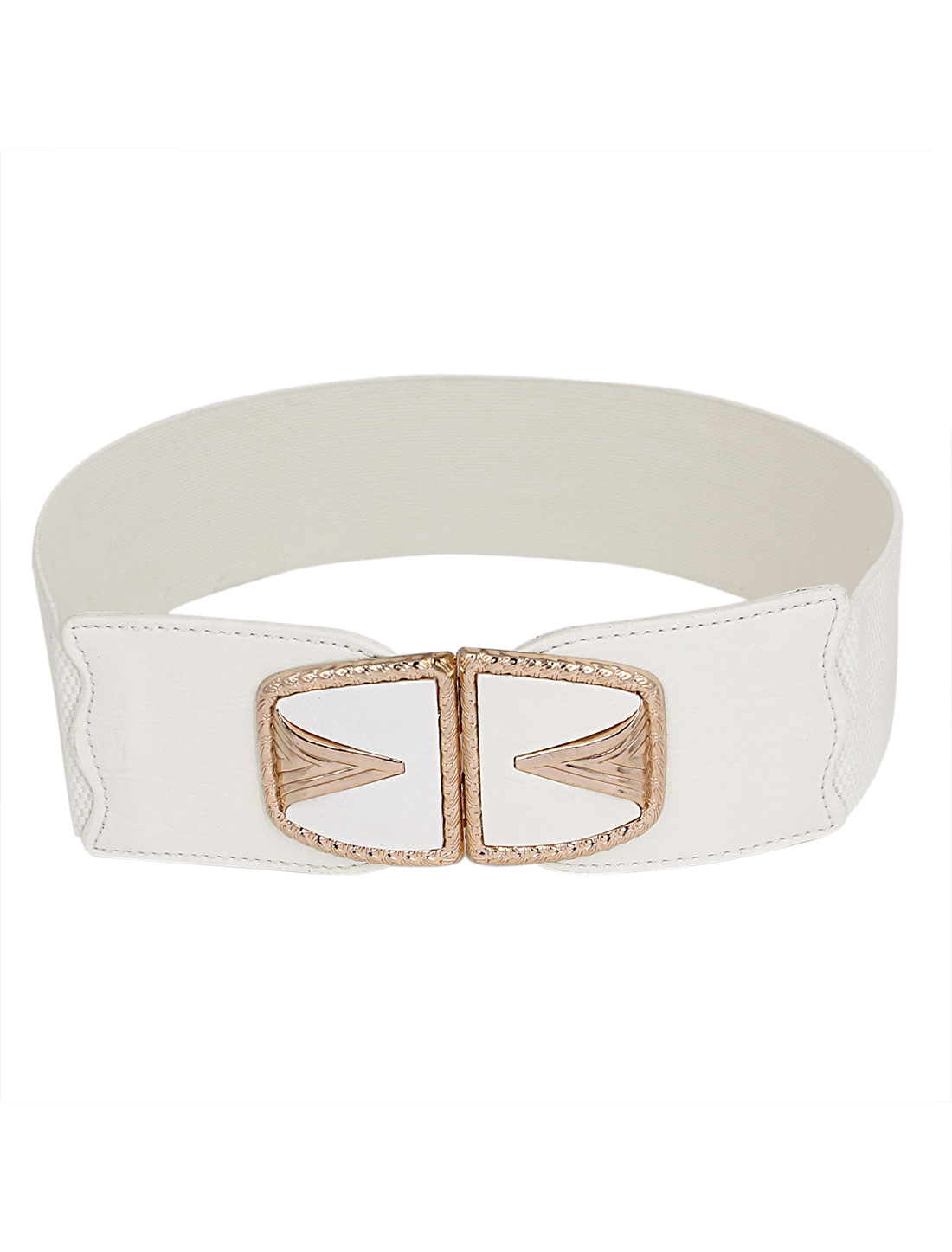 Women Metal Interlock Buckle Elastic Faux Leather Stretchy Waist Band Belt Waistband White