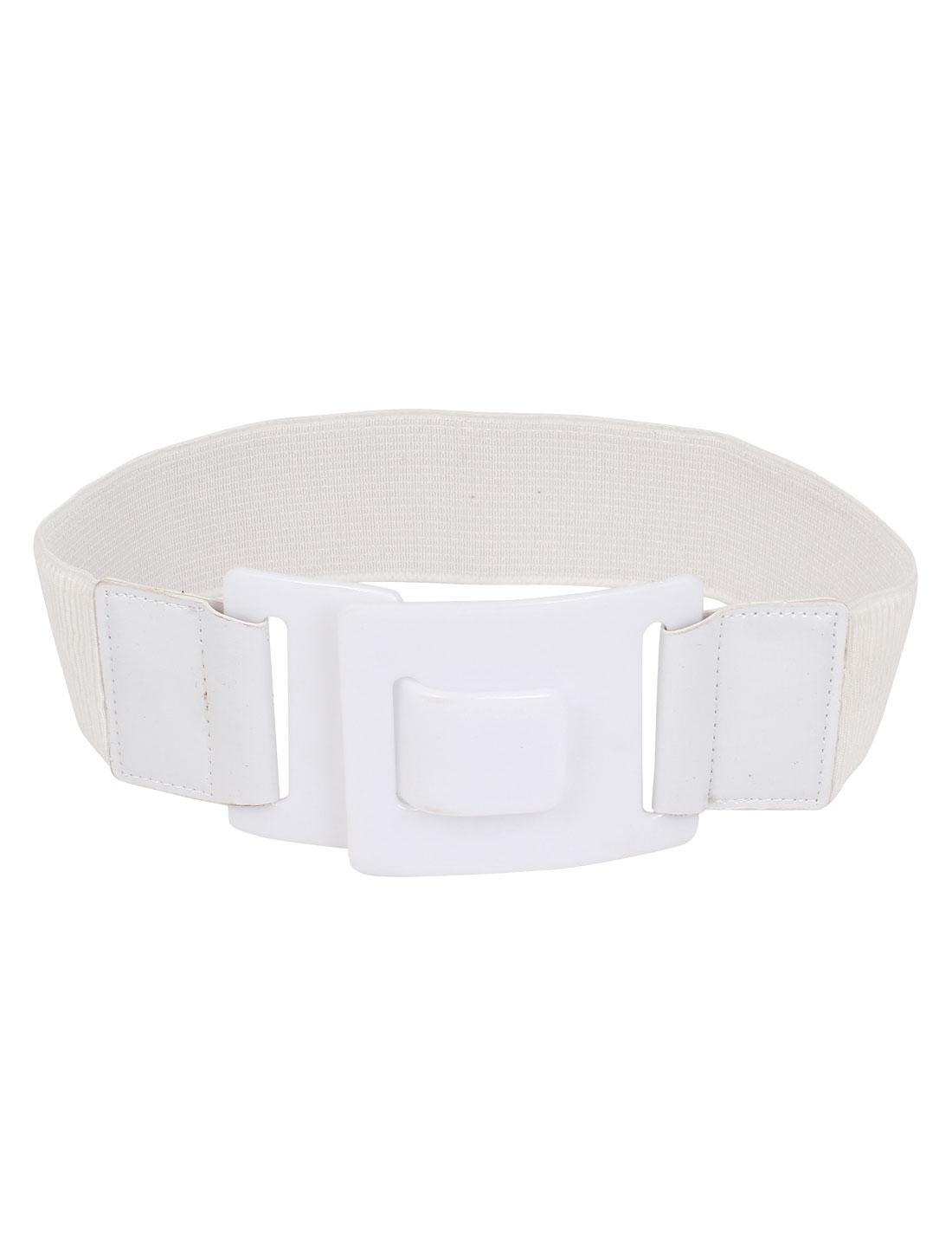 Women Plastic Interlock Buckle Faux Leather Stretch Cinch Waist Belt Band Waistband White