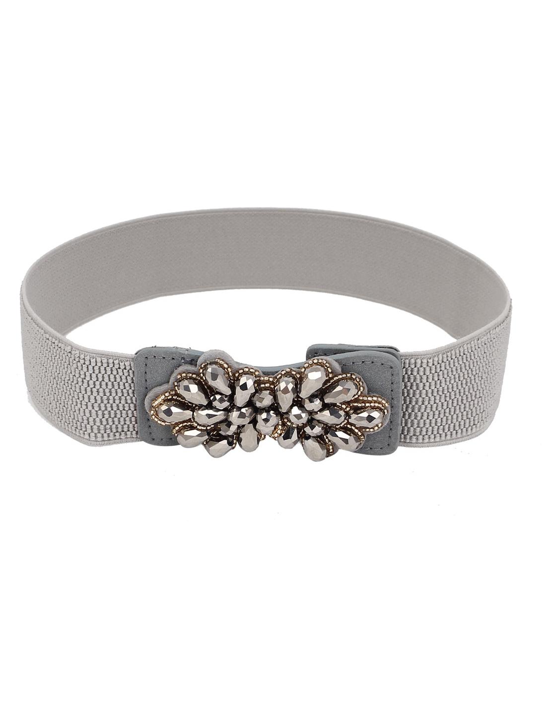 Women Flower Style Press Botton Buckle Stretchy Cinch Waist Belt Band Waistband Gray