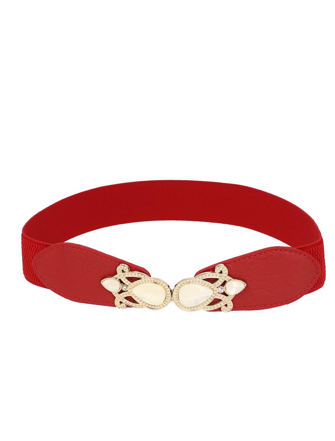 Women Imitation Pearl Decor Metal Interlocking Buckle Faux Leather 4cm Width Stretchy Cinch Waist Belt Waistband Red