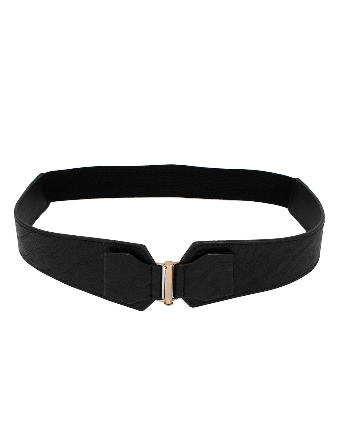 Women Interlock Buckle Stretchy 3cm Width Faux Leather Cinch Waist Belt Waistband Black