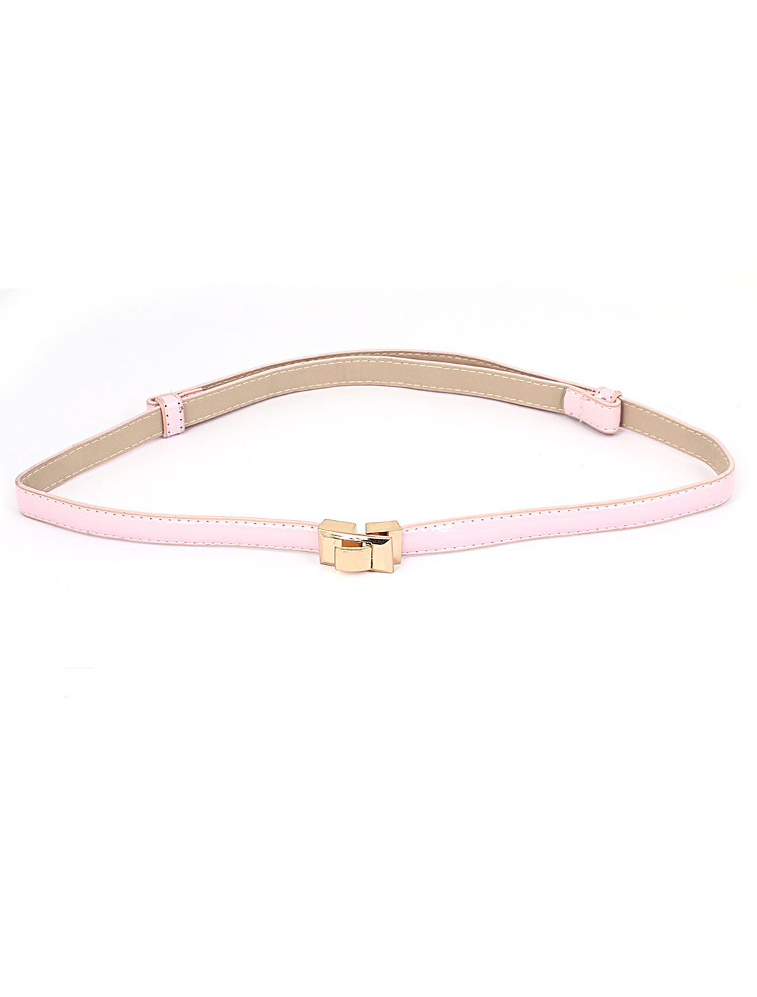 Lady Rectangle Shaped Metal Interlock Buckle Drawstring 1.5cm Width Adjustable Faux Leather Thin Waist Belt Pink