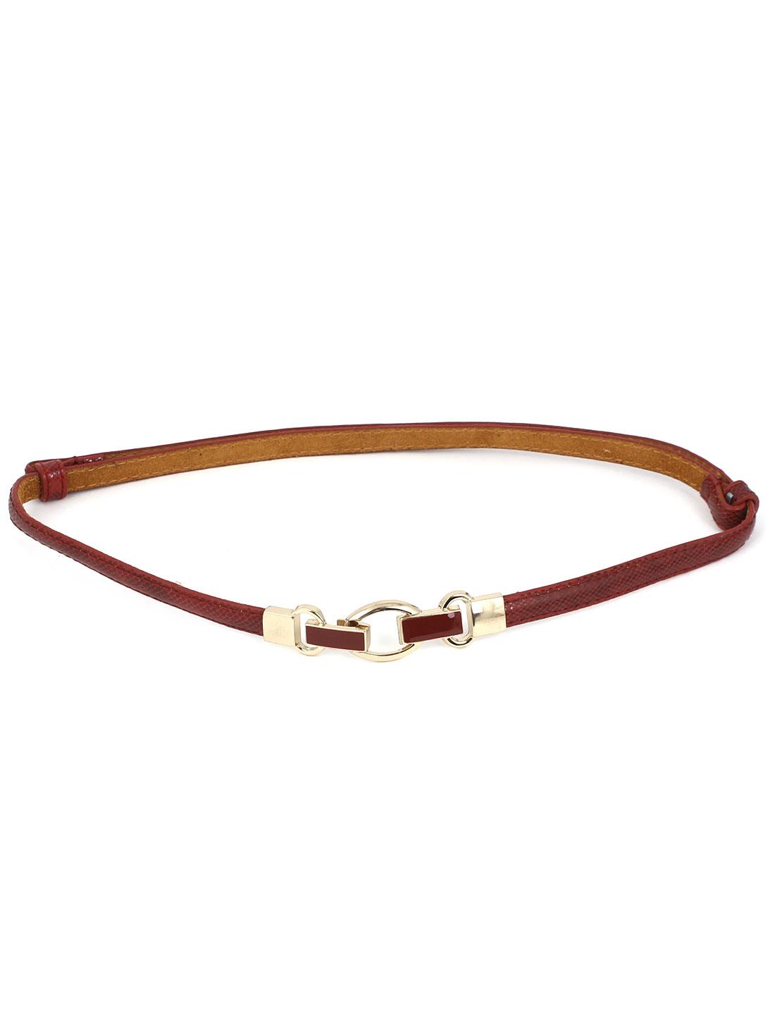 Women Interlock Buckle Adjustable Snake Pattern Faux Leather Slim Waist Belt Waistbelt Red