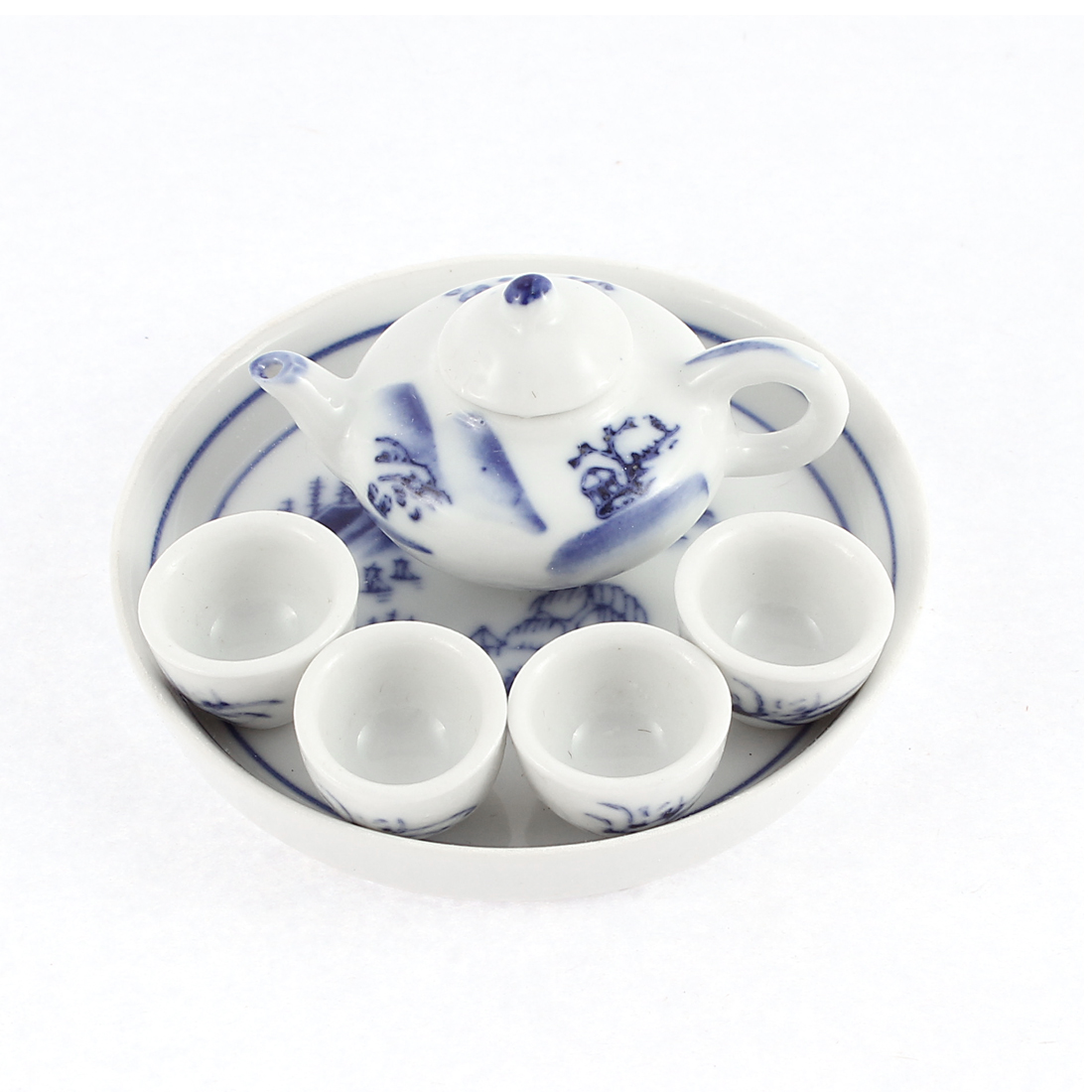 6 in 1 Tea Cup Set Dining Dish Plate Miniature Furniture for Birthday Gift