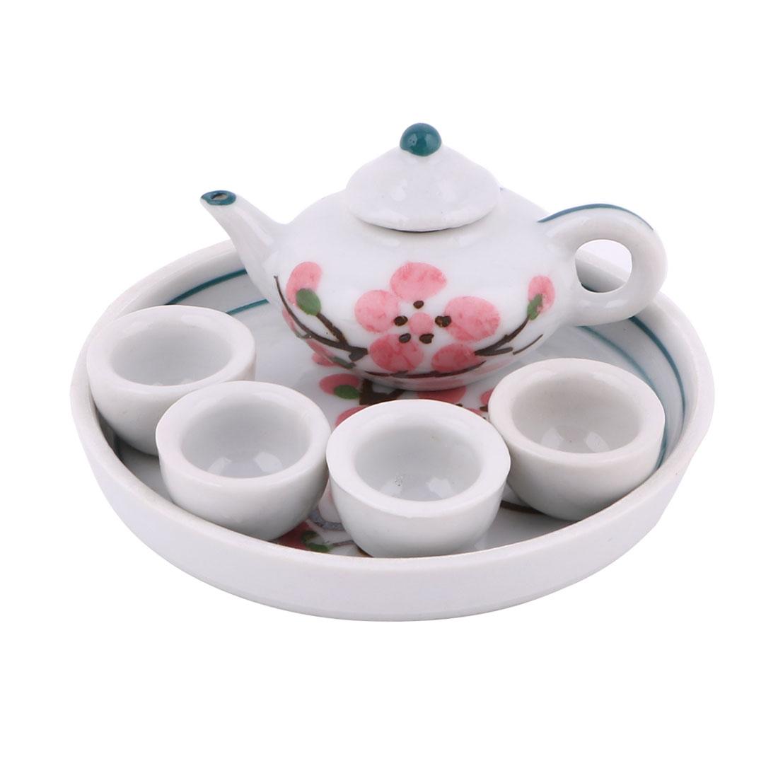 Ceramic Plum Blossom Printed Mini Plate Teapot Cup Tea Set Pink White