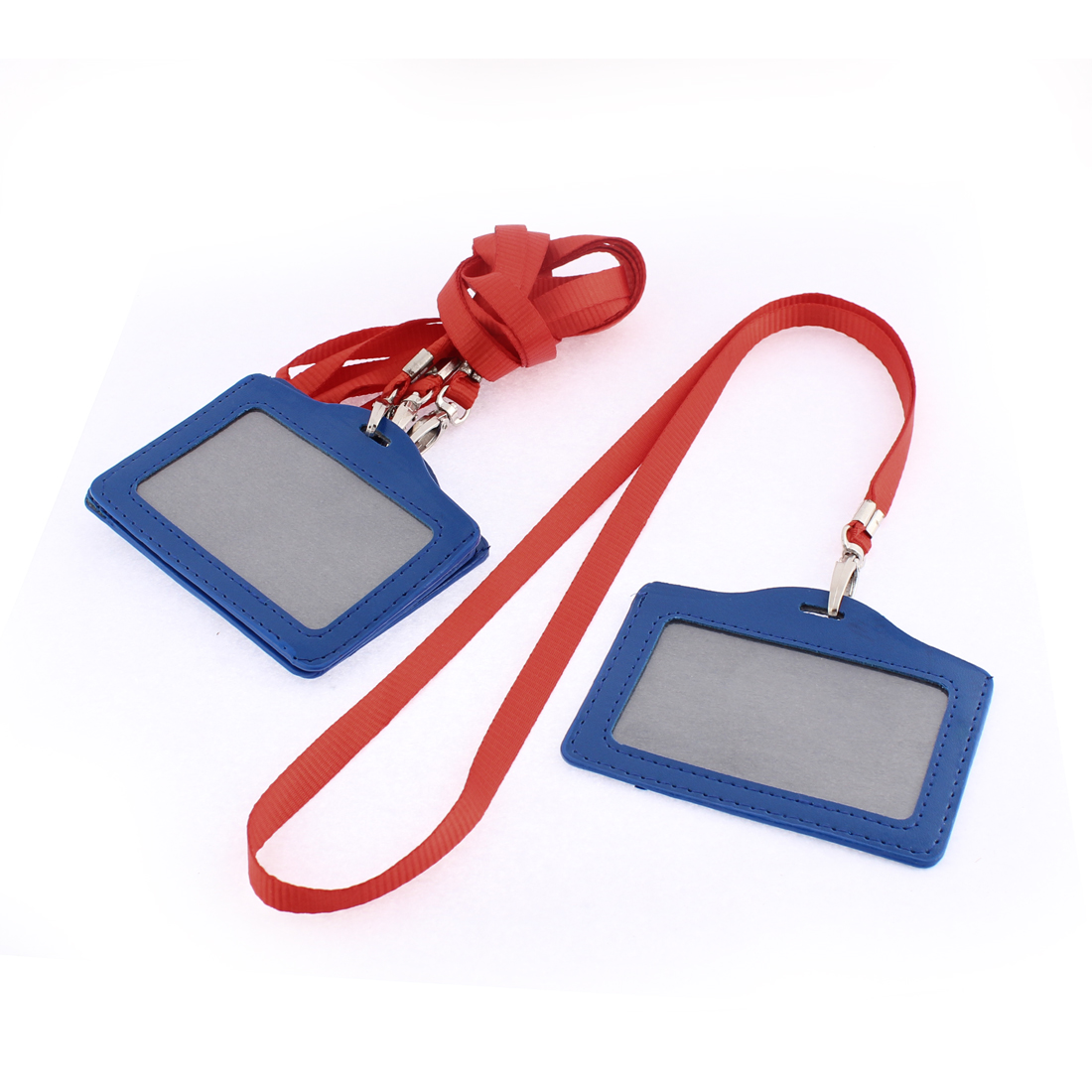 ID Credit Card Blue Clear Horizontal Holder Red Strap Lanyard 4Pcs