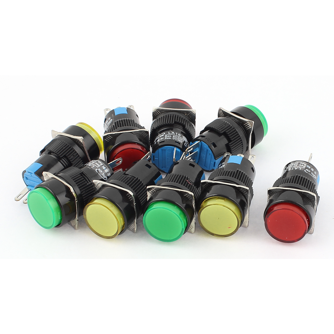 9pcs 3Terminal AC250V 3A DC30V 5A Momentary SPDT Push Button Switch w Red Insulated Crimp Terminal