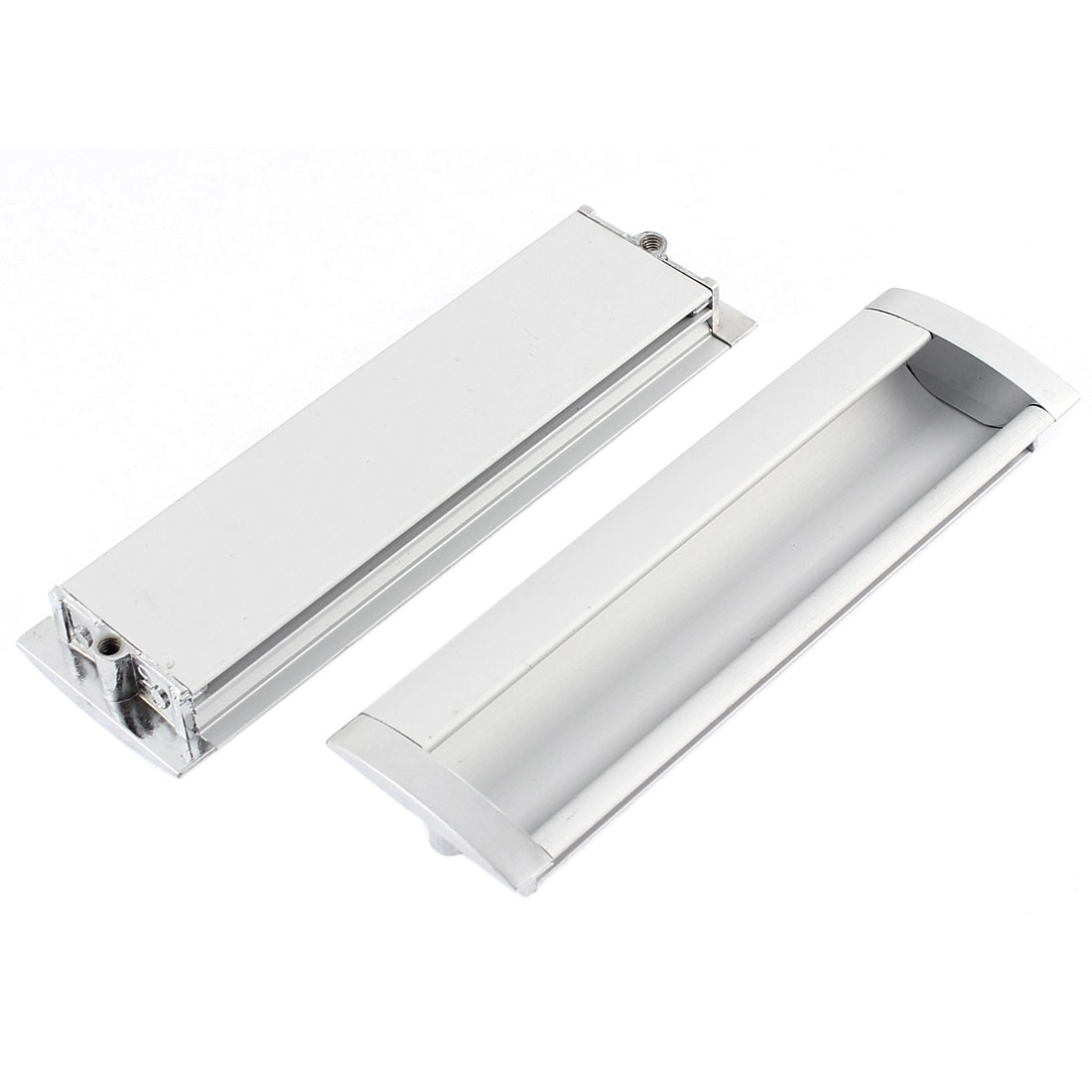 Cabinet Sliding Door Aluminium Alloy Rectangle Flush Recessed Pull Handle 140 x 42mm 2Pcs