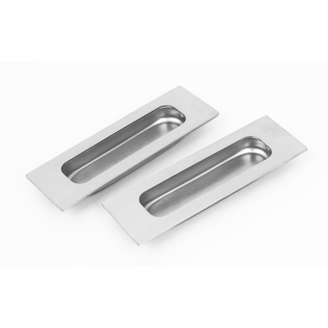 Cabinet Door 120mmx40mm Stainless Steel Recessed Flush Pull Handle Hardware 2Pcs