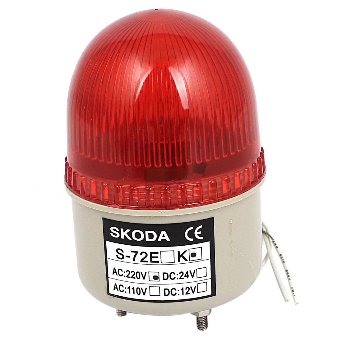 S-72E AC 220V Red LED Warning Light Rotary Flashing Strobe Industrial Signal Lamp