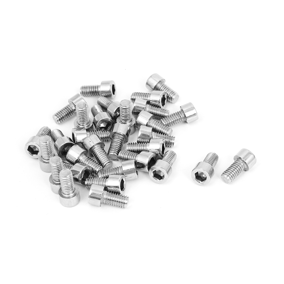 30 Pcs 17mm Long 6mmx12mm Stainless Steel Hex Socket Head Cap Screws 1.0mm Pitch
