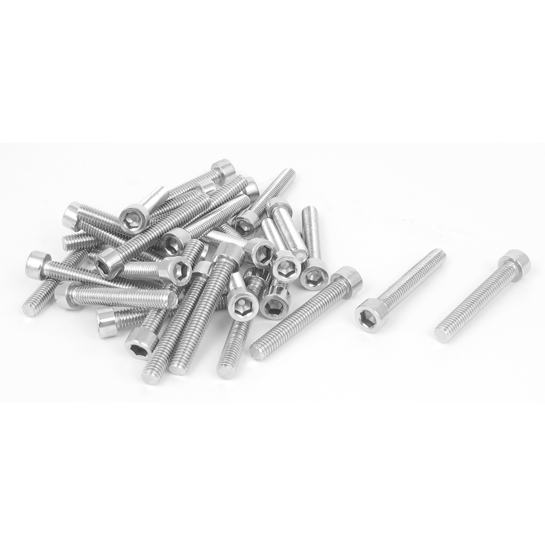 30 Pcs 45mm Long 6mmx40mm Stainless Steel Hex Socket Head Cap Screws 1.0mm Pitch
