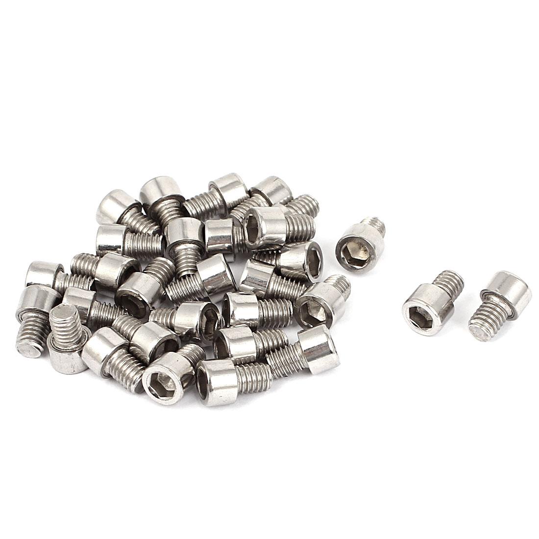 30pcs 6mmx8mm Stainless Steel Hex Socket Head Cap Bolt Machine Screws 13mm Long