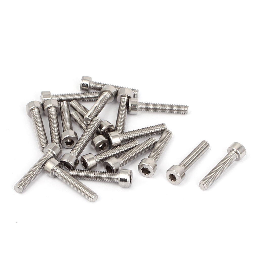 20 Pcs 24mm Long 4mmx20mm Stainless Steel Hex Socket Head Cap Screws 0.7mm Pitch